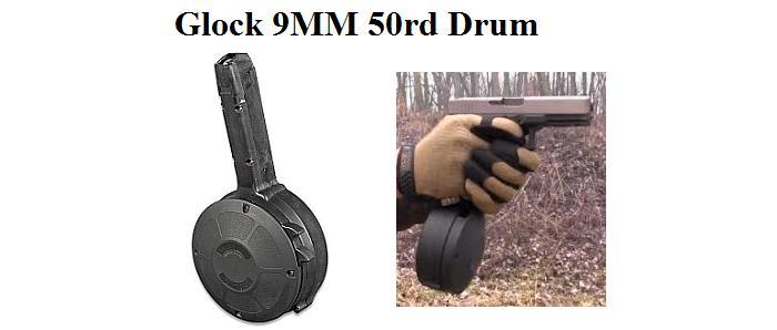 Glock 9mm 50rd Drum Fits Glock 17 18 19 26 Ag950