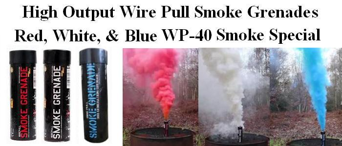 Wire Pull Smoke Grenade Special - Red, White, and Blue Pack